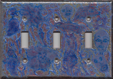 Purple Images on red triple toggle art switch plate