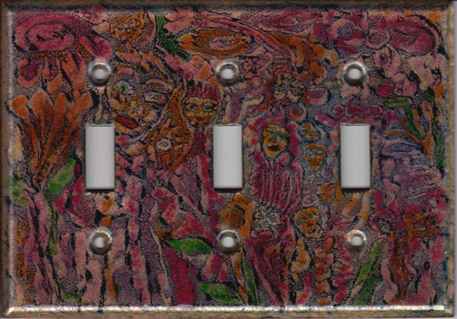 Red and Green Images triple toggle art switch plate cover