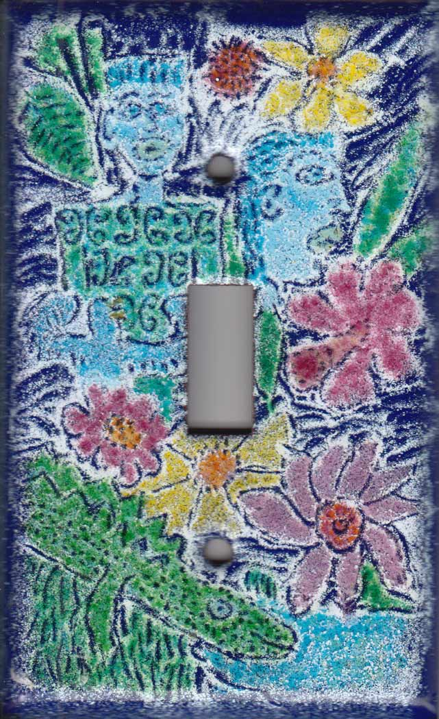 Flowers on Cobalt Blue single art switch plate