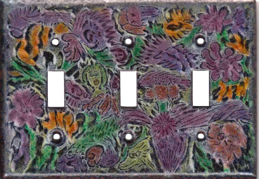 Color Images on black triple toggle art switch plate
